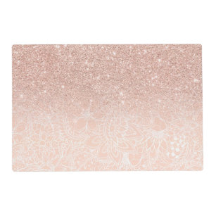 Modern White Fl Pattern Rose Gold Glitter Placemat