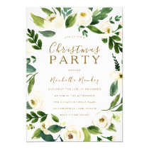 Modern White Floral Wreath Christmas Party Invitation