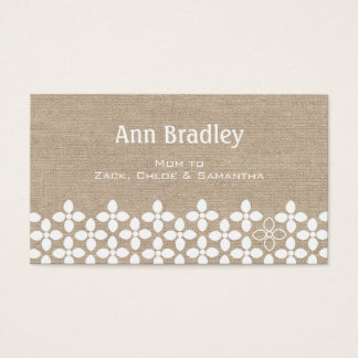 Modern White Flower Mommy Business Card