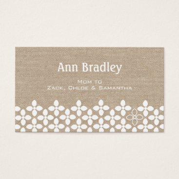 Professional Business Modern White Flower Mommy Business Card