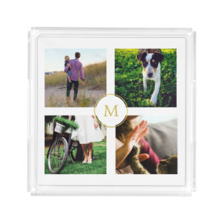 Modern White Four Photo Grid with Gold Monogram Acrylic Tray