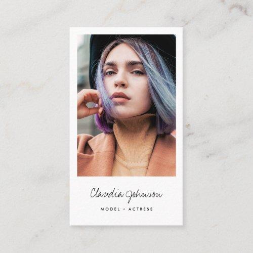 Modern white frame actor model singer dancer photo business card