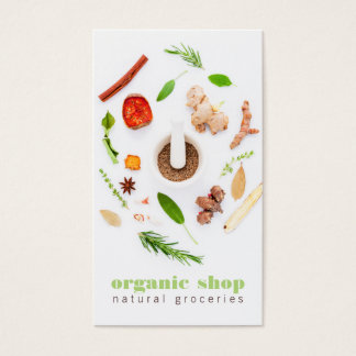 Modern white fresh organic foods healthy cooking business card