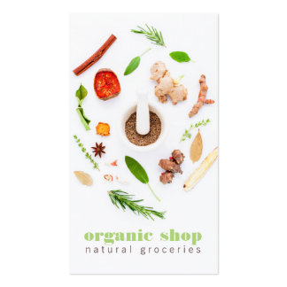Modern white fresh organic foods healthy cooking Double-Sided standard business cards (Pack of 100)