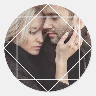 Modern White Geometric Overlay on your Photo Classic Round Sticker