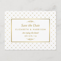 Modern White & Gold Foil Effect Save The Date Announcement Postcard
