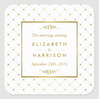 Modern White & Gold Foil Effect Wedding Favor Square Sticker