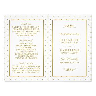 Modern White & Gold Foil Effect Wedding Program