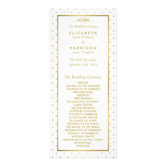 Modern White & Gold Foil Effect Wedding Program