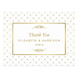 Modern White & Gold Foil Effect Wedding Thank You Postcard