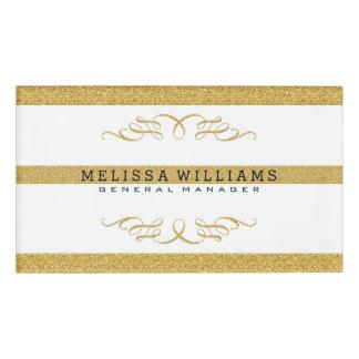 Modern White & Gold Glitter & Swirls Design Name Tag
