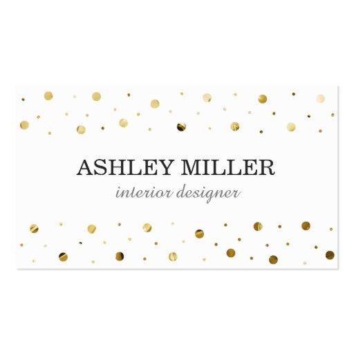 Modern White & Gold Leaf Polka Dot Business Card