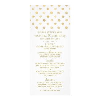 Modern White & Gold Polka Dots Wedding Menu
