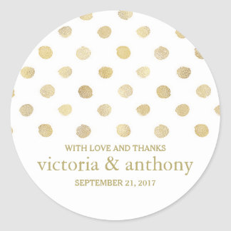 Modern White & Gold Polka Dots Wedding Thank You Classic Round Sticker