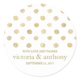 Modern White & Gold Polka Dots Wedding Thank You Classic Round Sticker