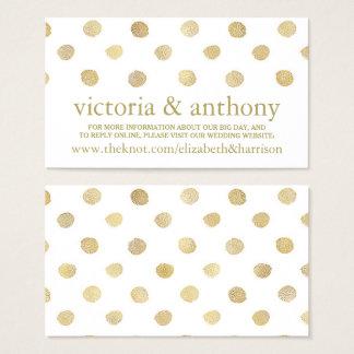 Modern White & Gold Polka Dots Wedding Website Business Card