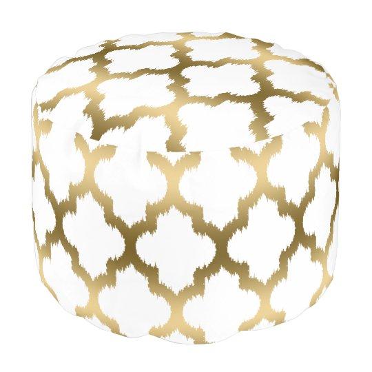 Modern White Gold Quatrefoil Ikat Pattern Pouf Zazzle Adorable White And Gold Pouf