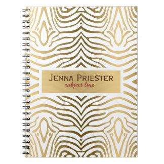 Modern White & Gold Zebra Stripes Pattern Spiral Notebooks