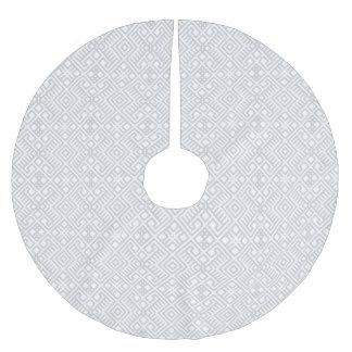 Modern White Gray Geometric Pattern Brushed Polyester Tree Skirt