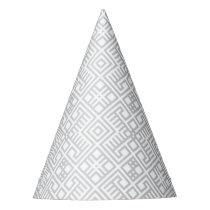 Modern White Gray Geometric Pattern Party Hat
