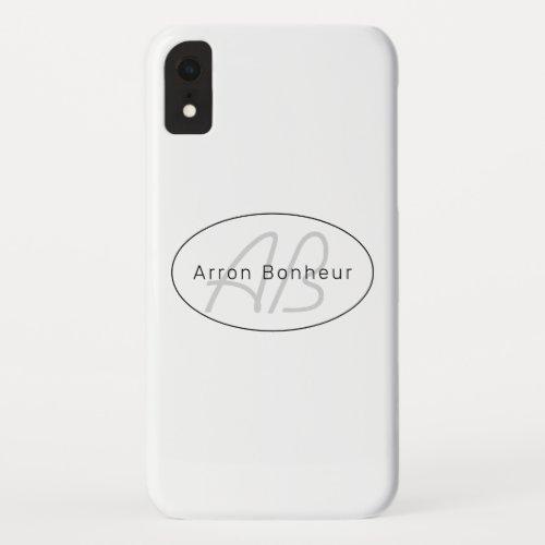 Modern White Grey & Black | Cool Name & Monogram Phone Case