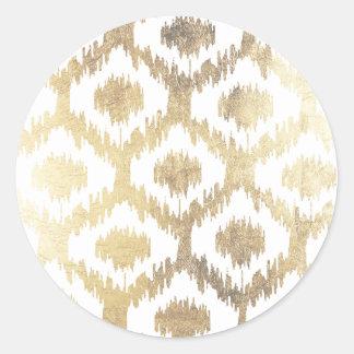 Modern white hand drawn ikat pattern faux gold classic round sticker