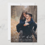 """Modern White Hand-Lettered Photo Save The Date<br><div class=""""desc"""">Pick the best pictures from your engagement shoot or your favorite pictures of the two of you for this perfect save the date. The words save the date are handwritten to give a personal feel to the card. The front has 1 image and the back has a large image with...</div>"""