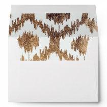 Modern white handrawn ikat pattern faux brass gold envelope