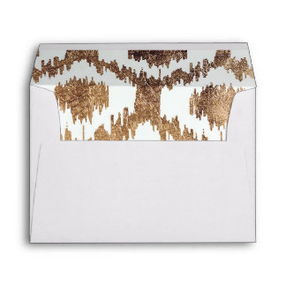 Modern white handrawn ikat pattern faux brass gold envelope