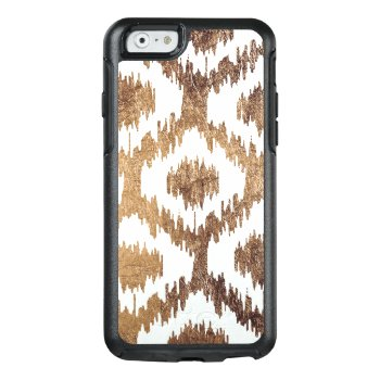 Modern White Handrawn Ikat Pattern Faux Brass Gold Otterbox Iphone 6/6s Case by pink_water at Zazzle