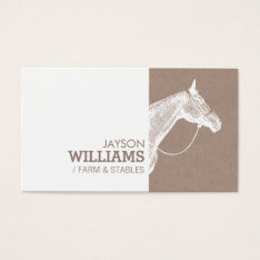 Modern White Horse Screen Print For Farmers Business Card at Zazzle