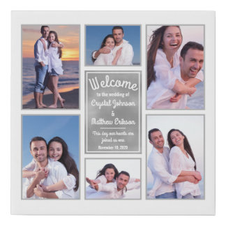 Modern White Instagram Photo Collage Wedding Sign