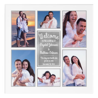 Modern White Instagram Photo Collage Wedding Sign Acrylic Print