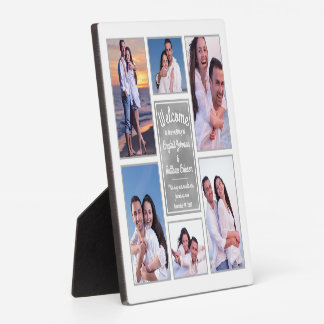 Modern White Instagram Photo Collage Wedding Sign Plaque