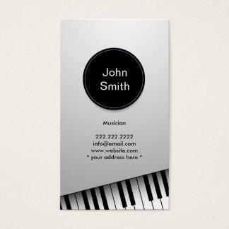 Modern White Jazz Pianist/Musician Business Card