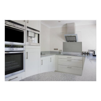 modern white kitchen poster