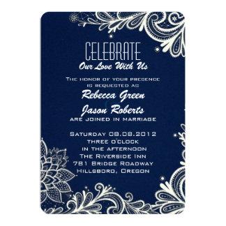 modern white lace pattern navy blue wedding card