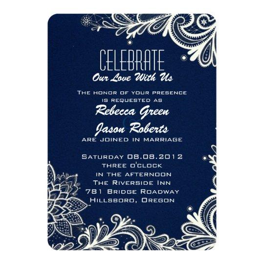 Navy Blue Wedding Invitations Modern