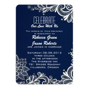 modern white lace pattern navy blue wedding 5x7 paper invitation card