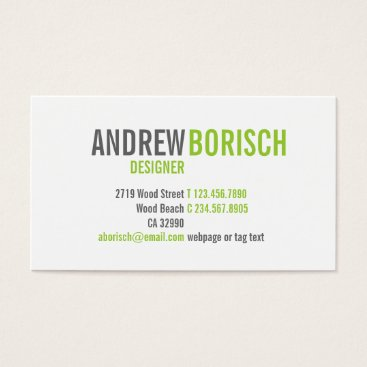 Professional Business Modern White Lime Green Business Card Template