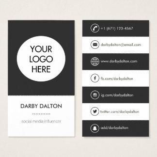 Modern White Logo Social Media Business Card