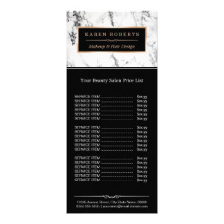 Modern White Marble Beauty Salon Price List Rack Card
