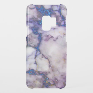 Modern White Marble & Blue Faux Glitter Accent Uncommon Samsung Galaxy S9 Case