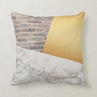 Modern White Marble Gold Foil Brick Wall Texture Throw Pillow
