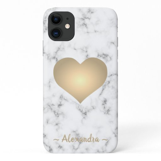 Modern white marble gold heart name iPhone 11 case