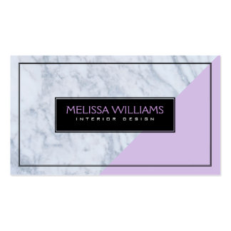 Modern  White Marble & Lavender Geometric Design Business Card