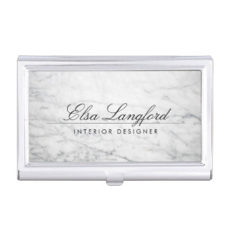 Modern White Marble Luxury Designer Card Case