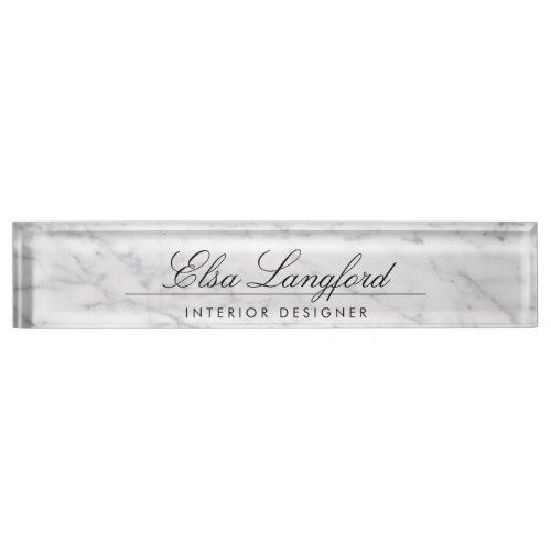 Modern White Marble Luxury Designer Desk Nameplate