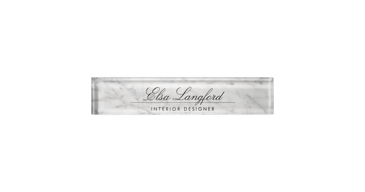 Modern White Marble Luxury Designer Desk Nameplate | Zazzle.com