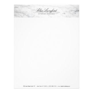 Modern White Marble Luxury Designer Letterhead